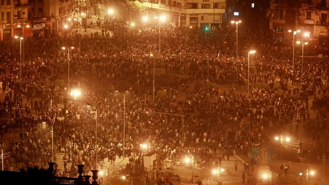 Tahir Square - Protesters gather in defiance of curfew