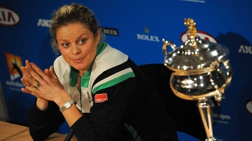 Clijsters with the Australian Open trophy she recently won in Melbourne