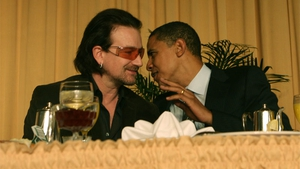 Bono pictured with Obama in 2011