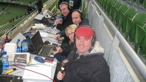 Con, Jacqui, Conor McGuinness and Victor Costello at the Aviva Stadium