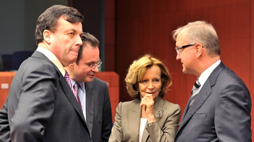 Brian Lenihan, George Papaconstantinou, Elena Salgado and Olli Rehn speaking last night