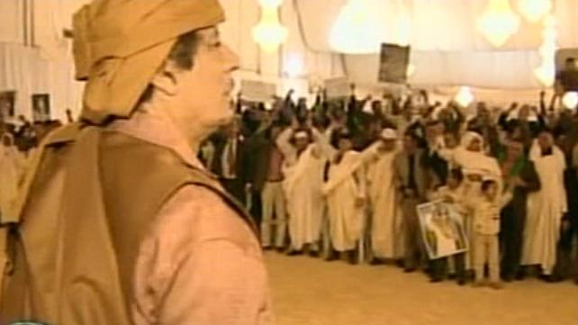 Libya - Pro-Gaddafi supporters greet leader