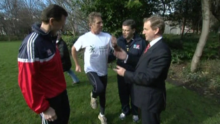 Enda Kenny meets former world champion athlete Eamon Coughlan