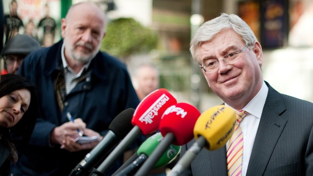 Labour - Eamon Gilmore answers media questions in Dublin