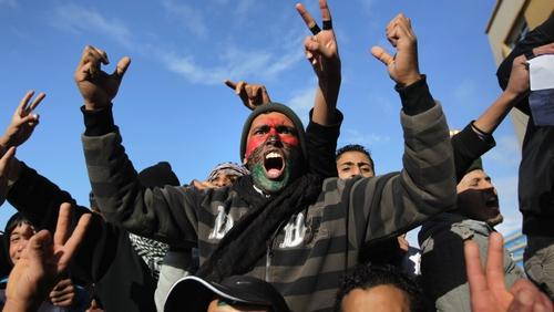 Libya - Demonstrators demand the removal of leader Muammar Gaddafi