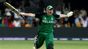 Kevin O'Brien celebrates Ireland's World Cup win over England back in 2011