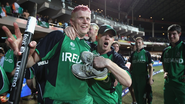 Kevin O'Brien celebrates a record breaking innings at the 2011 World Cup as Ireland beat England alongside brother and team-mate Niall