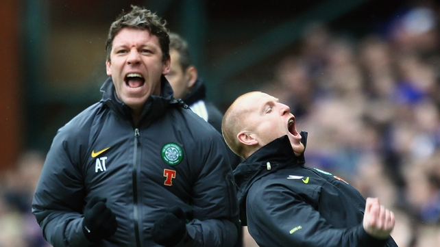 Alan Thompson (l) celebrates a goal against Rangers with Neil Lennon