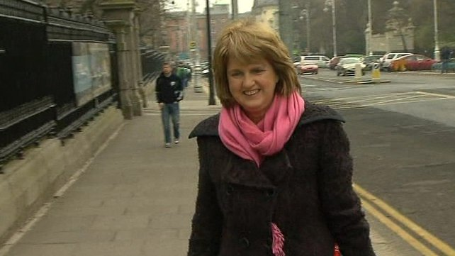 Joan Burton - Arriving for the talks this morning
