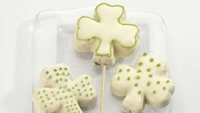 White Chocolate Shamrock Brownie Lollipops - A fun baking idea for St. Patrick's Day