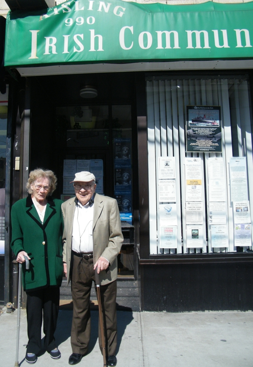 Rose and Joe Cunningham outside the Aisling Irish community centre New York