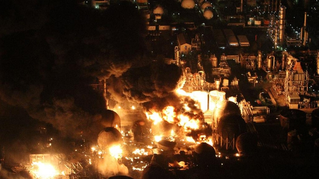 Ichihara - Oil refinery plant is on fire