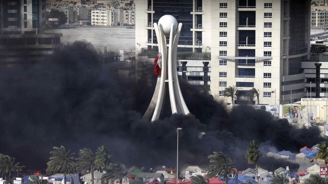 Manama - Tents burned in Pearl Square