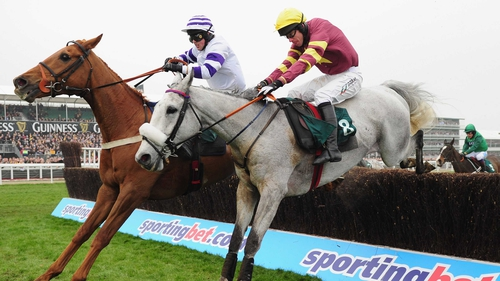 Beshabar (chestnut) - made amends for his Cheltenham defeat by winning the Scottish National