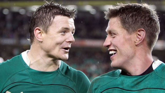 Brian O'Driscoll and Ronan O'Gara are all smiles at the final whistle