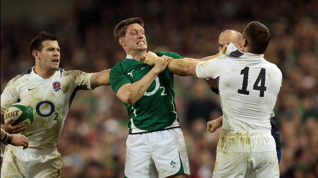 Ronan O'Gara and Chris Ashton square up