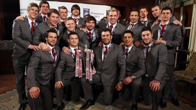 England were presented with the RBS 6 Nations trophy later in the evening