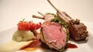Saddle of Lamb with Herb Crust, Dauphinoise Potatoes and Parsnip Purée