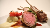 Saddle of Lamb with Herb Crust, Dauphinoise Potatoes and Parsnip Purée - A delicious lamb dish, ideal for a dinner party!