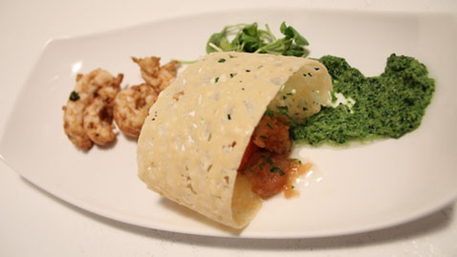 Dublin Bay Prawns with Tomato and Basil Granita, Parmesan Crisp and Watercress Purée