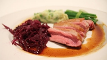 Pan Seared Duck in Madeira Sauce, Colcannon, Spiced Red Cabbage