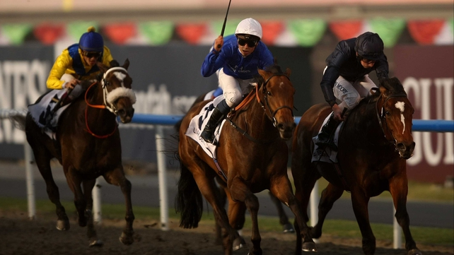 Master Of Hounds (right) was just touched off by Khawlah in Dubai