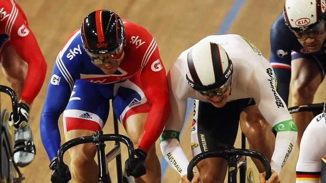 Chris Hoy (left) lost the Keirin event to Shane Perkins (right)