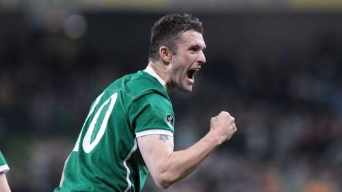 Robbie Keane celebrates his crucial strike