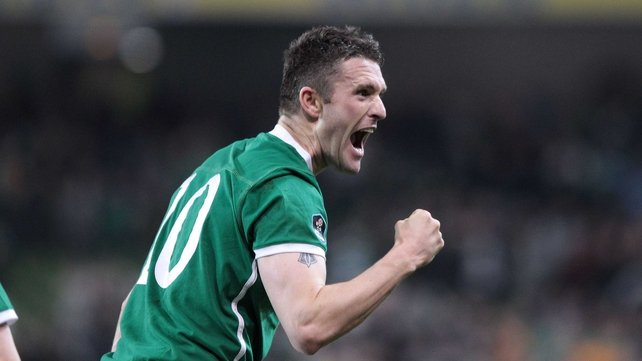 Robbie Keane celebrates his crucial strike