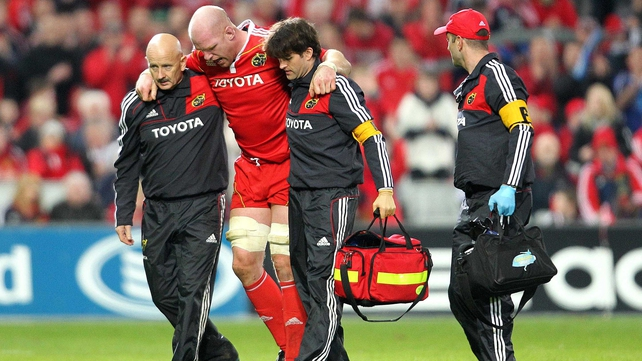 Paul O'Connell - reports indicate the Munster second row has snapped his Achilles tendon or damaged ankle ligaments