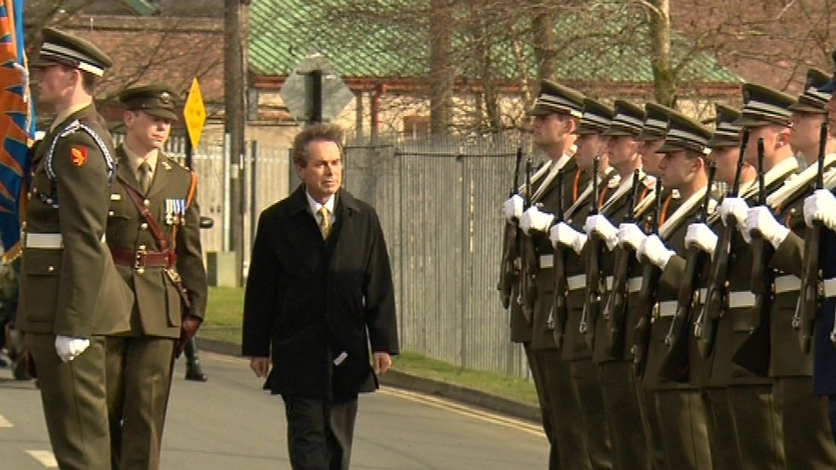 Mr Shatter inspects an honour guard
