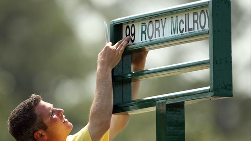 The Masters - Rory McIlroy's name is placed on a placard at the course