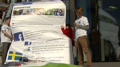 Dublin - Greenpeace protest outside Facebook office