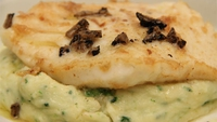 Pan Fried Fillet of Turbot with Colcannon and Truffle Dressing - A delicious fish dish from Michael O'Doherty.