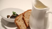 Celeriac Soup with a Quenelle of Mushroom Duxelle and Shaved Truffle - A tasty soup from The Restaurant!