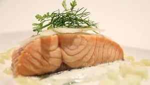 Cider Poached Clare Island Salmon, Apple & Fennel Salad dressed with Calvados: Norah Casey