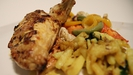 Tandoori-Style Roast Chicken with Grilled Vegetables and Cumin Potatoes