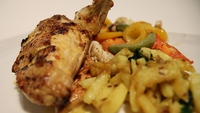 Tandoori-Style Roast Chicken with Grilled Vegetables and Cumin Potatoes - Not as daunting as you think.