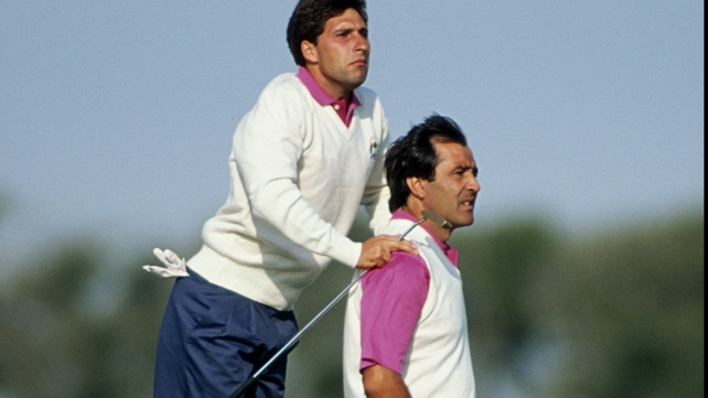 Jose Maria Olazabal and compatriot Seve Ballesteros pictured at the 1991 Ryder Cup