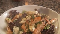 Warm Chilli Seafood Salad - To finish, place some parsnip crisps on top of salad.