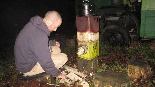 Mark's rocket stove is made from three old catering tins welded together.