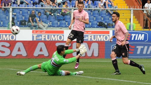 Mauricio Pinilla - Of Palermo, scores the goal the goal that relegated Sampdoria