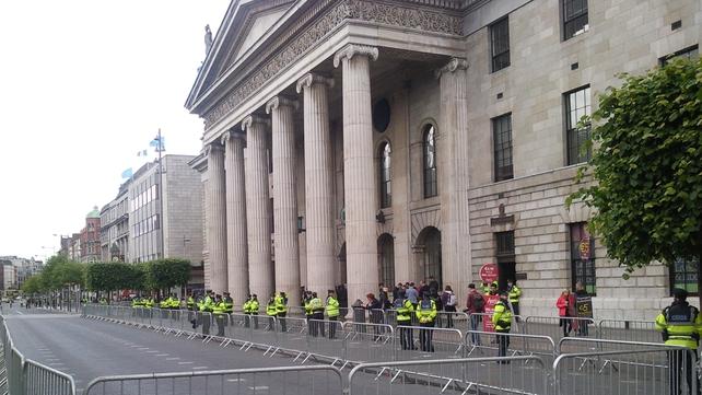 Dublin - Heavy garda presence O'Connell Street