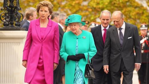 President Mary McAleese greets Britain's Queen Elizabeth II