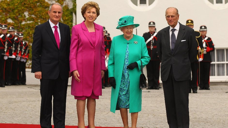 President Mary McAleese and her husband Martin welcomed the royal couple to Aras an Uachtaráin