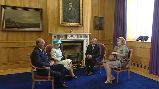 Queen Elizabeth II - Met Taoiseach at Government Buildings this morning