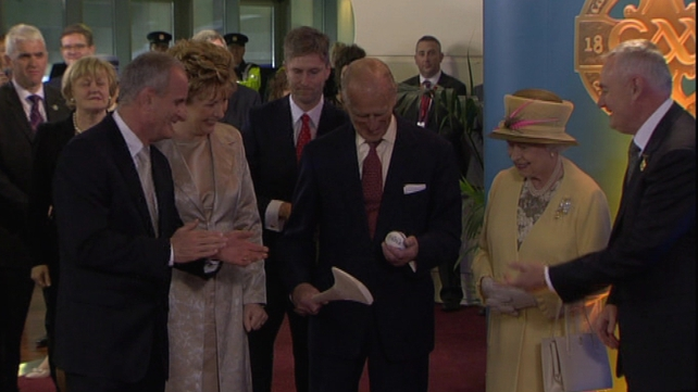 Croke Park - The Duke of Edinburgh is presented with a hurley and sliotar