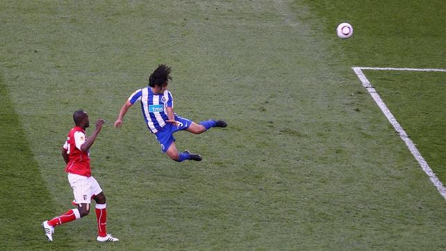 Radamel Falcao scoring the winner in the 2011 UEFA Cup final at the Aviva Stadium
