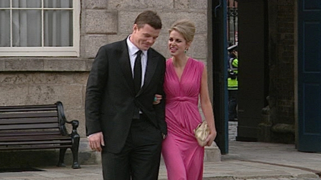 Brian O'Driscoll & Amy Huberman - Arriving for State Banquet at Dublin Castle