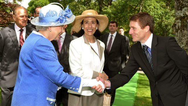 Queen Elizabeth - Greets top jockey Johnny Murtagh